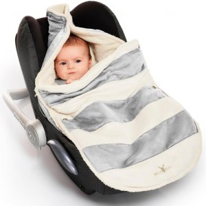 Wallaboo Newborn Footmuff Striped Silver