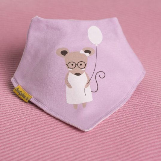 BABYBOO Lilac Millie the Mouse Bandana Bib