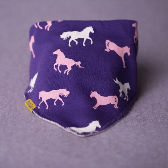 BABYBOO Purple horses bandana bib