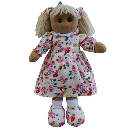 RAG DOLL FLORAL AND WHITE DRESS 40CM