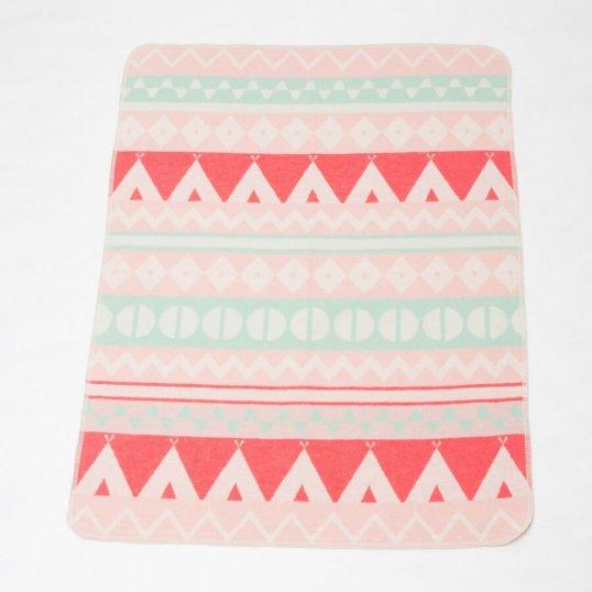Pink Teepee Print Blanket