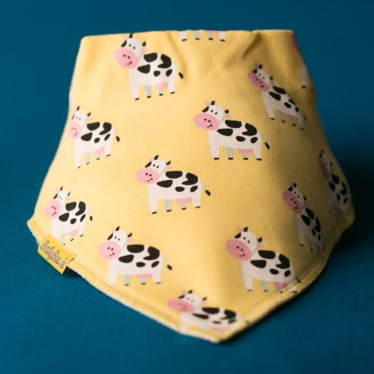 LEMON BESSIE COW ORGANIC COTTON DRIBBLEBOO BANDANA BIB