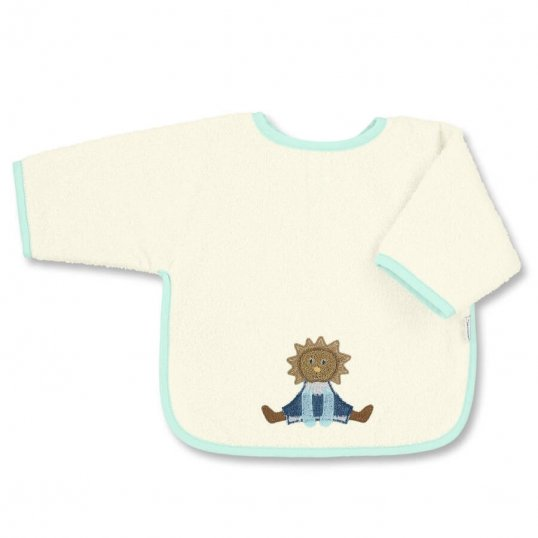 Leon The Lion Sleeved Bib Ecru