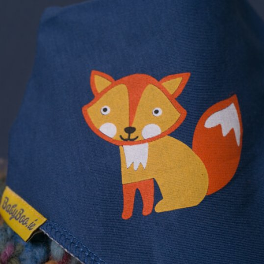 NAVY CUTE AS A FOX ORGANIC COTTON DRIBBLEBOO BANDANA BIB