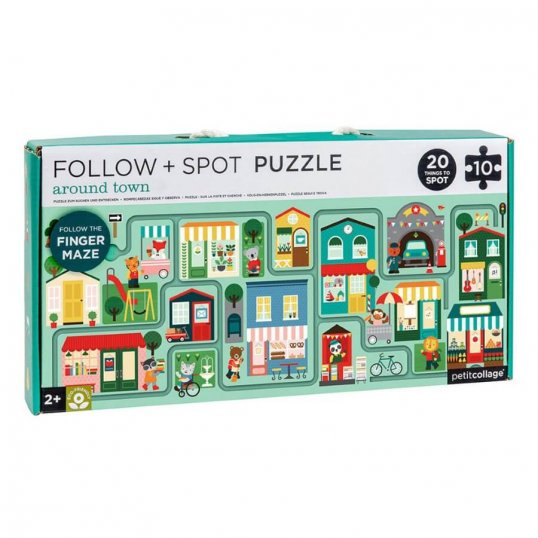 Follow the trail to get this busy bunny to the grocery store! Can you spot all 20 items in this busy city scene? Follow the maze with your child's little finger and spot 20 different items along the way! Made using recycled cardboard and printed with vegetable inks Ready-to-gift and easy for little hands to carry Assembled puzzle measures 21″ X 8. 5″ Includes 10 chunky puzzle pieces Recommended for ages 2+