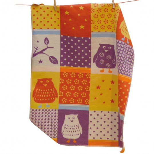 Patchwork Owls Multi-Coloured Baby Blanket_Cribs.ie
