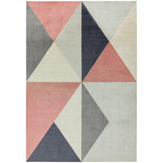 Riley Pink and Grey Triangles Rug 120 x 170