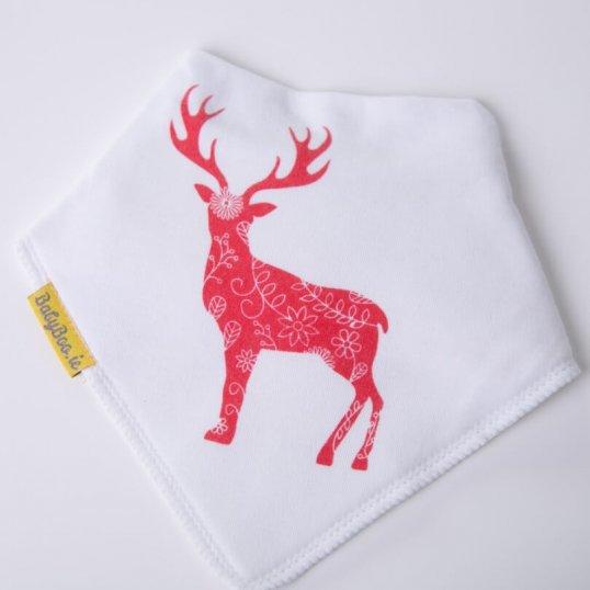 Scandi inspired deer Christmas bandana bib