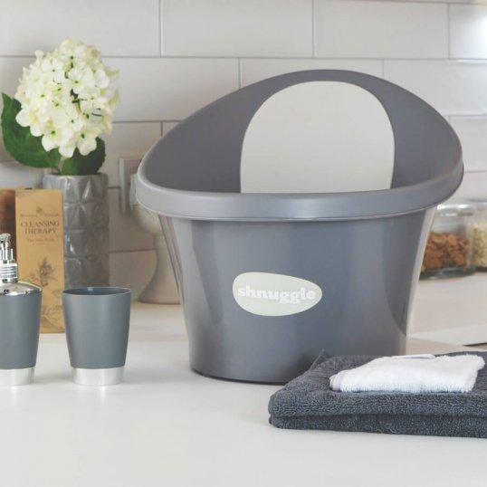 Shnuggle Baby Bath with Foam Backrest Slate Grey_1