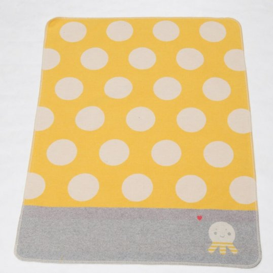 Dots and Octopus Yellow Blanket