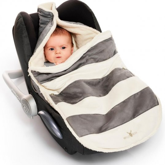Wallaboo Newborn Footmuff Striped Grey
